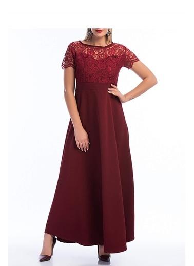 Angelino Butik Büyük Beden Uzun Dantelli Abiye Elbise KL802 Bordo
